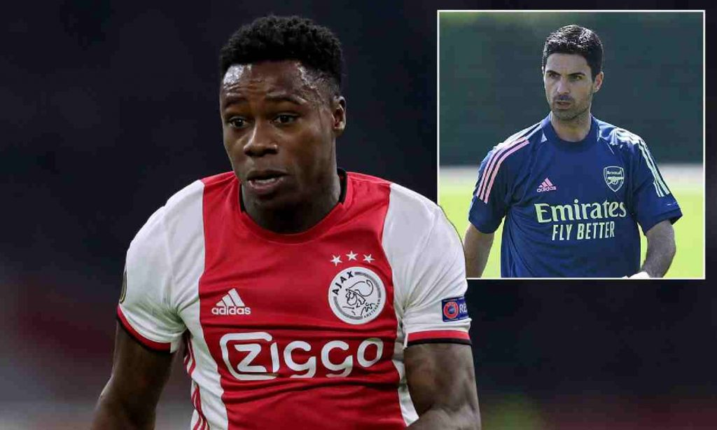 Ajax player Quincy Promes and Mikel Arteta
