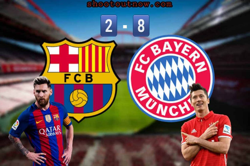 Lionel Messi and Lewandowski with their Teams Badges on shootoutnow Hear What Messi Have To Say After Bayern Munich 8-2
