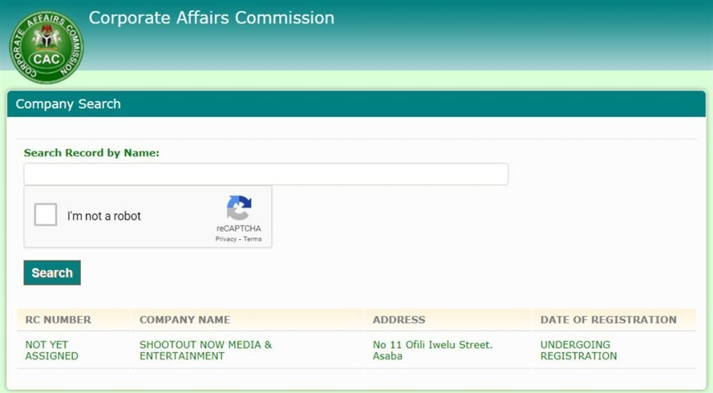 Image of shootoutnow company registration showing it is legit and not a scam