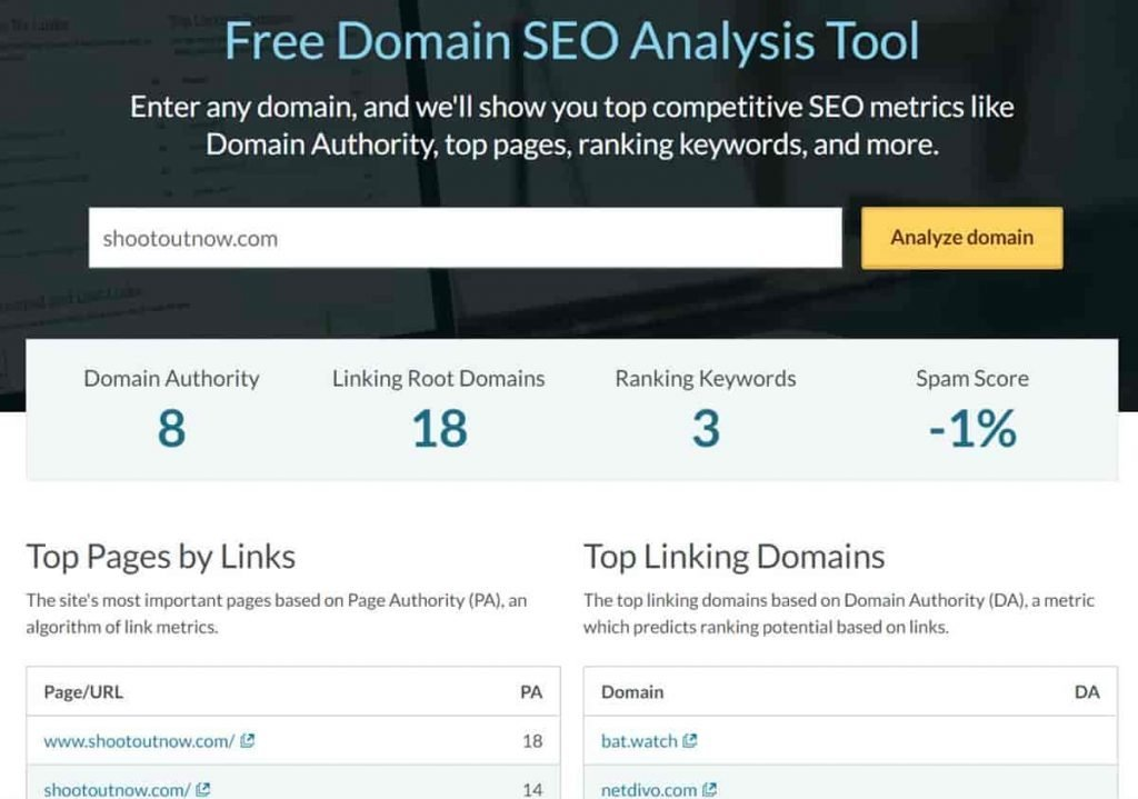 Image of shootoutnow.com spam score by Moz showing it is legit and not a scam