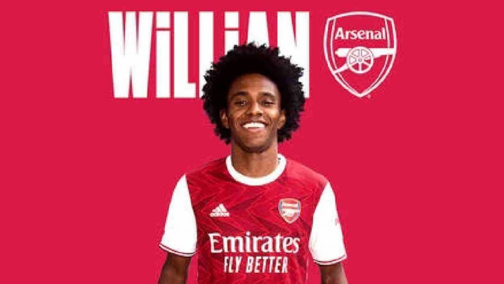 Willian signs for Arsenal and he is wearing the gunners new kit