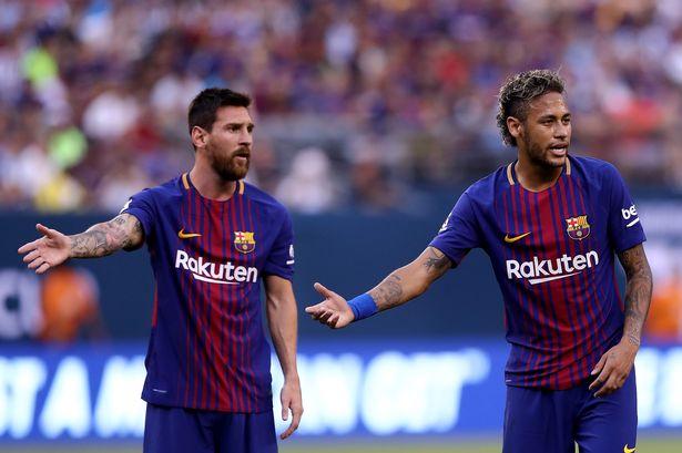 Messi with Neymar